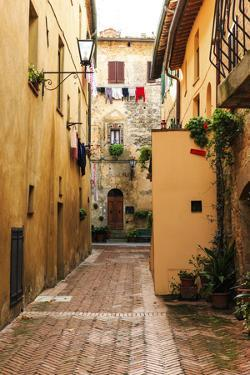 Italy, Tuscany, province of Siena, Chiusure. Hill town. Narrow passageway. by Emily Wilson