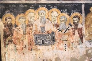 Macedonia, Lake Ohrid. St. Naum Monastery. Frescos of St. Cyril and Methody and Students by Emily Wilson