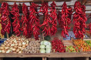 Macedonia, Lake Ohrid, Struga. Peppers and Vegatables for Sale at a Local Market by Emily Wilson