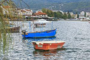 Macedonia, Ohrid and Lake Ohrid. Boats on Water by Emily Wilson