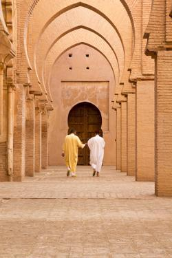 Morocco, Marrakech, Tinmal. Men Walking to the Great Mosque of Tinmal by Emily Wilson