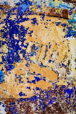 Peeling, weathered paint. Blue and orange. by Emily Wilson