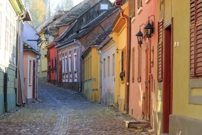 Transylvania, Romania, Mures County, Sighisoara, cobblestone residential streets.