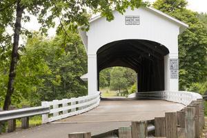 USA, Oregon, Lane County, Jasper, Place Road, Fall Creek. Pengra Covered Bridge by Emily Wilson