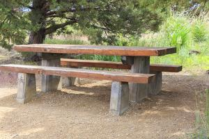USA, Oregon, Redmond, Terrebonne. Smith Rock State Park. Picnic table and bench. by Emily Wilson