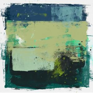 Abstract Moss Green and Blue Study by Emma Moore
