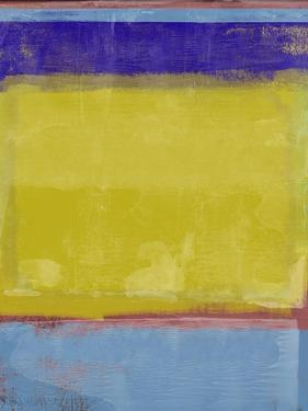 Mustard and Blue Abstract Study by Emma Moore