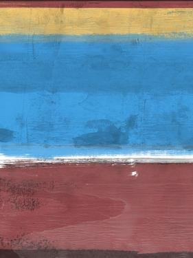 Sangria and Blue Abstract Study by Emma Moore