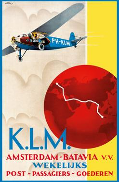 Amsterdam to Jakarta (Batavia) - Dutch East Indies - KLM (Royal Dutch Airlines) by Emmanuel Louis Joseph Gaillard