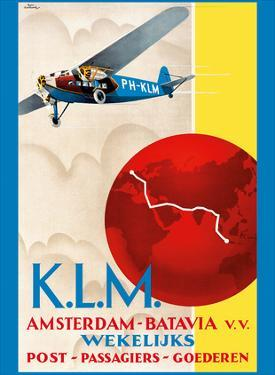 Amsterdam to Jakarta (Batavia) - Dutch East Indies - KLM (Royal Dutch Airlines) by Emmanuel Louis Joseph Gaillard