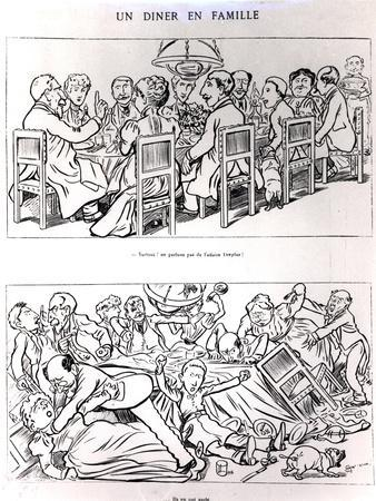 Caricature of a Family Dinner Before and after Having Talked About the Dreyfus Affair, circa 1894