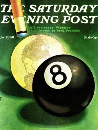"""""""World as Cue Ball,"""" Saturday Evening Post Cover, January 25, 1941 by Emmett Watson"""