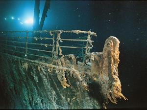 """Bow Railing of R.M.S. """"Titanic"""" Illuminated by Mir 1 Submersible Behind the for Ward Anchor Crane by Emory Kristof"""