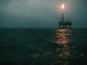 Night View of a Plume of Fire from an Offshore Oil Rig in This Norwegian Oil Field by Emory Kristof