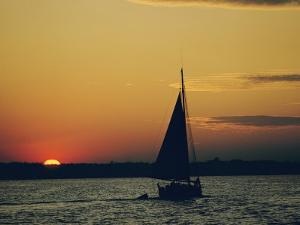 Skipjack Silhouetted at Sunset by Emory Kristof