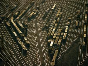 View of the Argentine Yards, an Electronic Switching Yard of the Santa Fe Railway by Emory Kristof