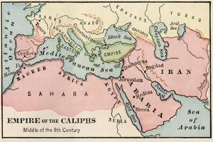 Empire of the Arab Caliphs, Middle of the 8th Century
