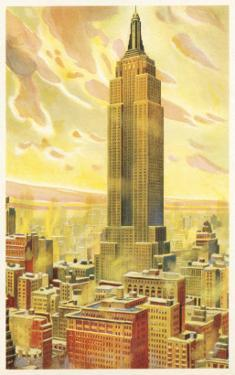 Empire State Building, Flaming Sky, New York City