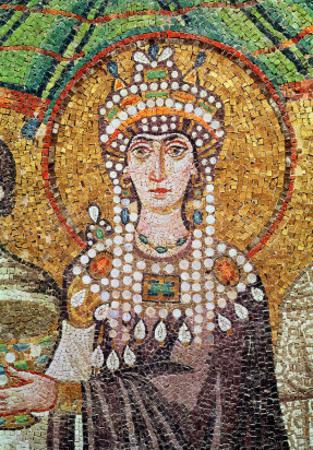 Empress Theodora with Her Court of Two Ministers and Seven Women, Detail of Theodora, circa 547 AD