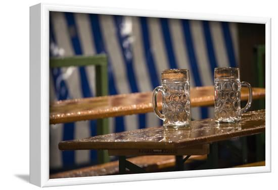empty beer mugs in the rain, Oktoberfest-Christine Meder stage-art.de-Framed Photographic Print