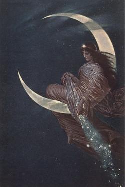 Enchantress Sitting on Moon