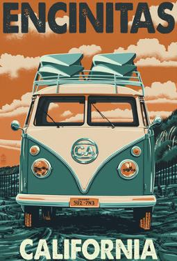 Encinitas, California - Vw Van Blockprint