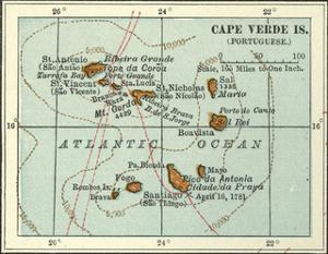 Inset Map of Cape Verde Islands (Portuguese) by Encyclopaedia Britannica