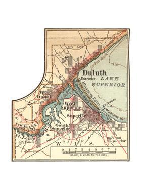 Inset Map of Duluth, Minnesota, 1902. Atlas by Encyclopaedia Britannica