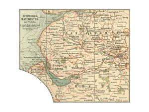 Inset Map of Liverpool, Manchester and Vicinity by Encyclopaedia Britannica