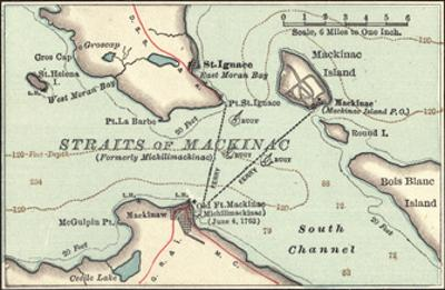 Inset Map of Mackinac Island and the Straits of Mackinac, Michigan by Encyclopaedia Britannica