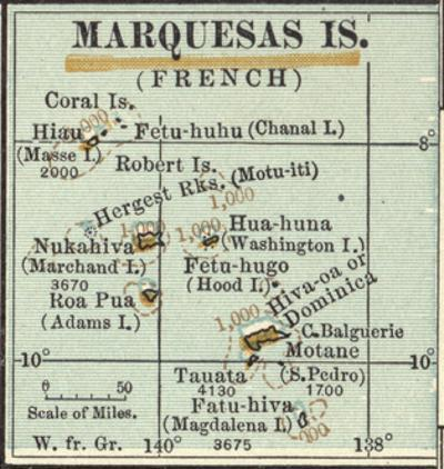 Inset Map of Marquesas Islands (French). Oceania. South Pacific by Encyclopaedia Britannica