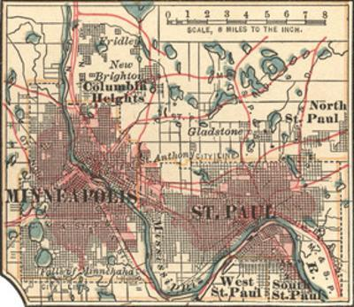 Inset Map of Minneapolis and St. Paul, Minnesota by Encyclopaedia Britannica