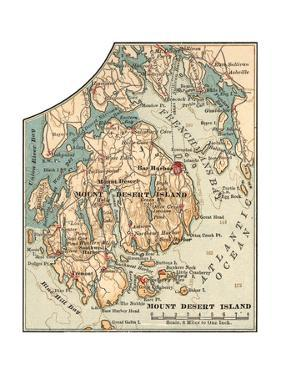 Inset Map of Mount Desert Island, Maine by Encyclopaedia Britannica