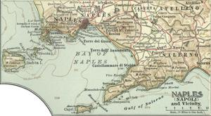 Inset Map of Naples (Napoli) and Vicinity. Italy by Encyclopaedia Britannica