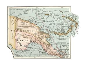 Inset Map of New Guinea or Papua; Bismarck Archipelago. by Encyclopaedia Britannica