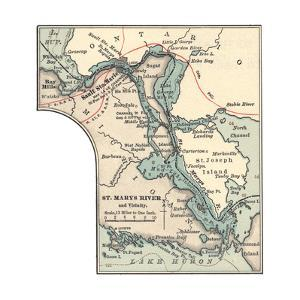Inset Map of St. Marys River and Vicinity, with Sault Ste by Encyclopaedia Britannica