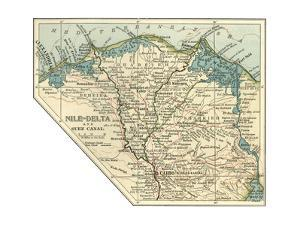 Inset Map of the Nile Delta and Suez Canal. Egypt by Encyclopaedia Britannica