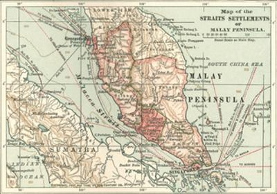 Inset Map of the Straits Settlements of Malay Peninsula; Part of Sumatra. Singapore by Encyclopaedia Britannica