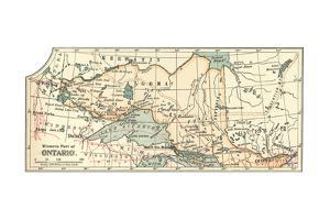 Inset Map of the Western Part of Ontario, Canada by Encyclopaedia Britannica