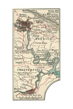 Map Illustrating Battles of the American Civil War Held around the Richmond, Virgina Area by Encyclopaedia Britannica