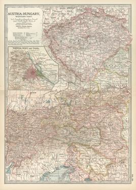 Map of Austria-Hungary, Western Part. Inset of Vienna (Wien) and Vicinity by Encyclopaedia Britannica