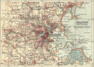 Map of Boston (C. 1900), Maps by Encyclopaedia Britannica