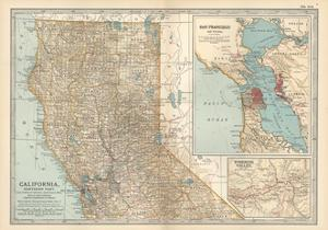 Map of California, Northern Part. United States. Inset Maps of San Francisco and Yosemite Valley by Encyclopaedia Britannica