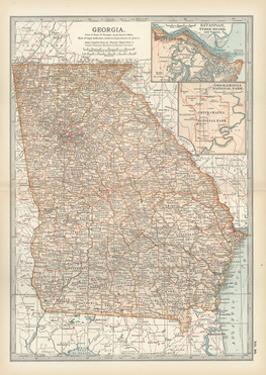 Map of Georgia. United States. Inset Maps of Savannah and Vicinity, Chickamauga National Park by Encyclopaedia Britannica