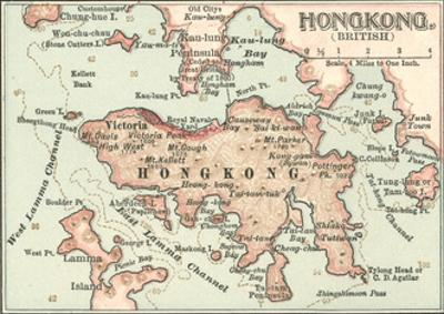 Map of Hong Kong (C. 1900), Maps by Encyclopaedia Britannica