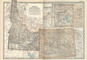 Map of Idaho and Wyoming. United States. Inset Map of Yellowstone National Park by Encyclopaedia Britannica