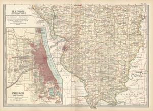Map of Illinois, Southern Part. United States. Inset Map of Chicago and Vicinity by Encyclopaedia Britannica