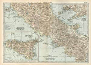 Map of Italy. Central and Southern Part. Insets of Sicily (Sicilia) and Naples (Napoli) by Encyclopaedia Britannica