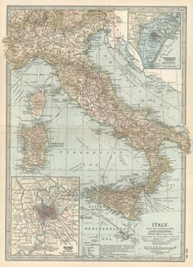 Map of Italy. Insets of Rome (Roma) and Vicinity, and Venice (Venezia) and Vicinity by Encyclopaedia Britannica