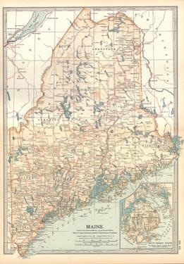 Map of Maine, United States. Inset of Mount Desert Island by Encyclopaedia Britannica